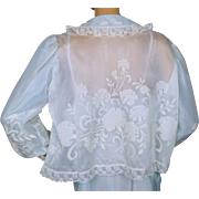 Vintage 1960s Blue and White Organza Bed Jacket with Floral Pattern