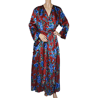 Vintage 1940s Dressing Gown Floral Chintz Satin Lounging Robe Ladies Size M L