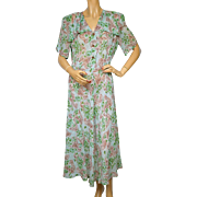 Vintage 1940s Day Dress Sheer Floral Printed Rayon Size L