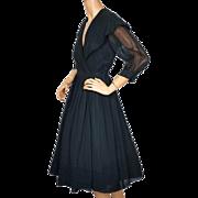 Vintage 1950s Dress Black Rayon Chiffon  with Large Shawl Collar Size M