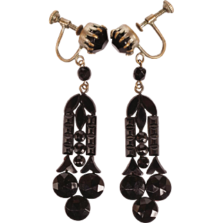 Vintage 1920s Black French Jet Drop Earrings with Screw Backs