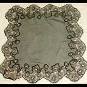 Vintage 1920s Black Silk Georgette Chiffon & Metallic Lace Hankie / Handkerchief