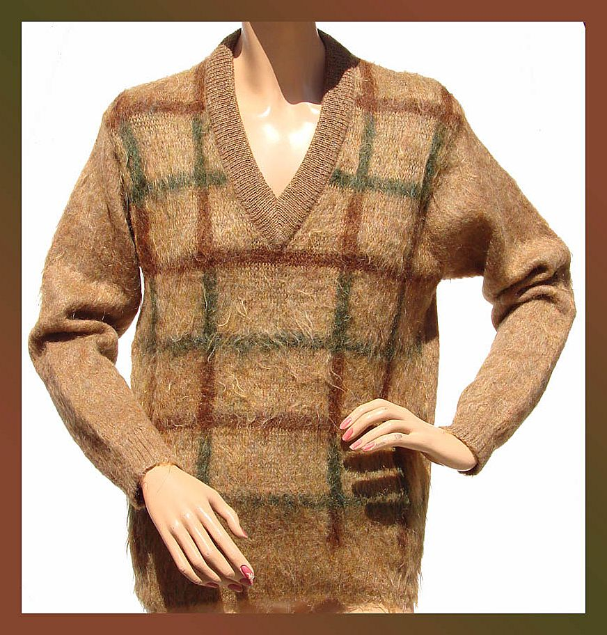 Vintage 1960s Mohair Golf Pullover Sweater Unisex Medium