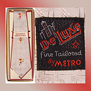 Vintage Metro Deluxe 1950s Native Indian Motif Men's Tie Necktie Unused