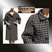 RESERVED Vintage 1950s Givenchy Haute Couture Black and White Tweed Wool Coat
