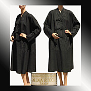 RESERVED - Vintage 1950s Nina Ricci Black Wool & Moire Faille Silk Coat