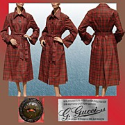 Vintage 1970s Gucci Plaid Raincoat with Leather Buttons Size 14