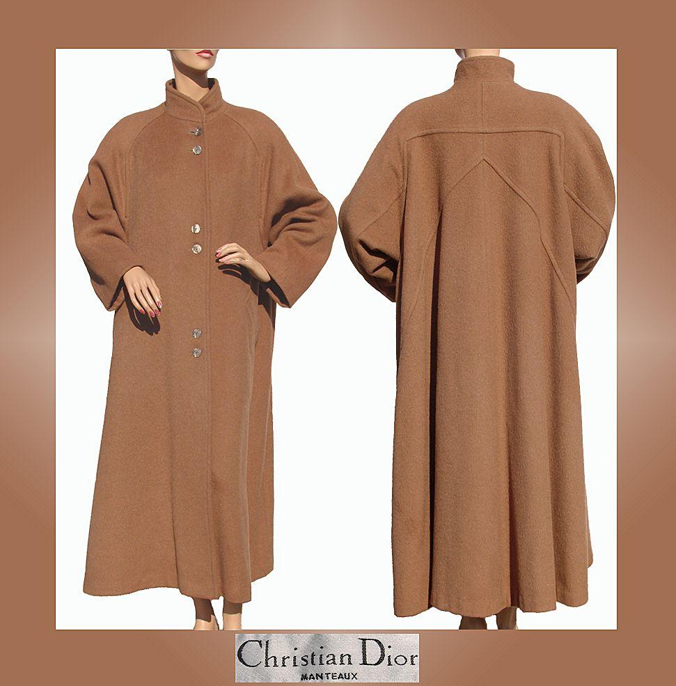 Vintage 1980s Christian Dior Coat Brown Wool Ladies Medium Size 10