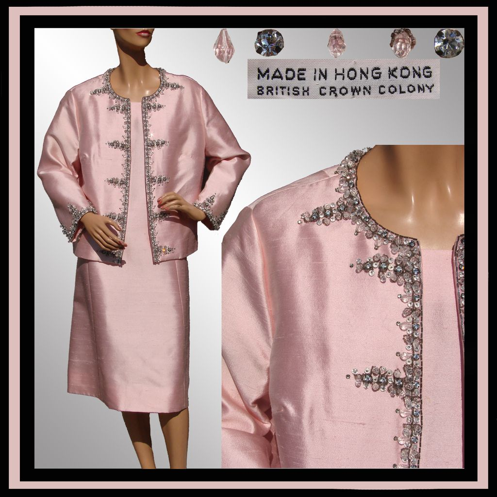 Vintage 1960s Pink Silk Dress & Beaded Jacket Hong Kong Ladies Size XL Extra Large