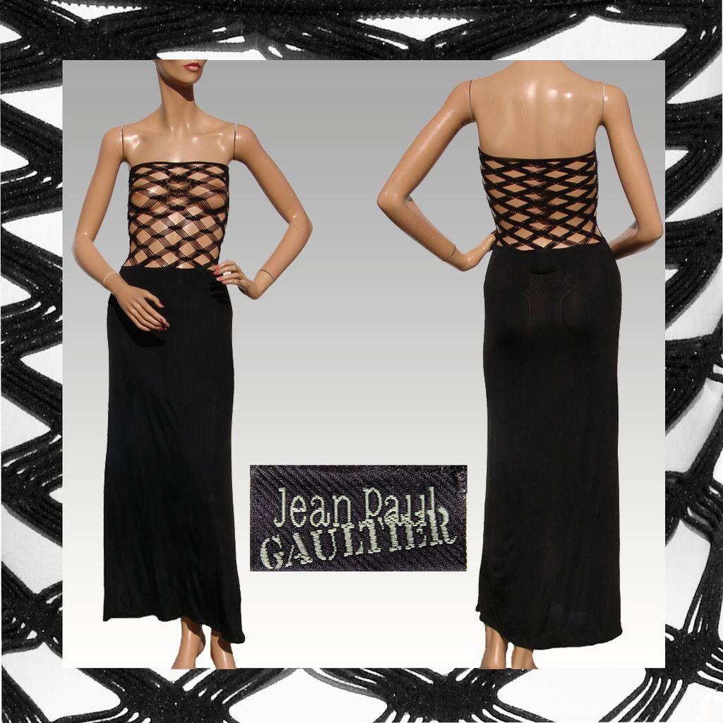 vintage 1990s jean paul gaultier dress black fish net. Black Bedroom Furniture Sets. Home Design Ideas