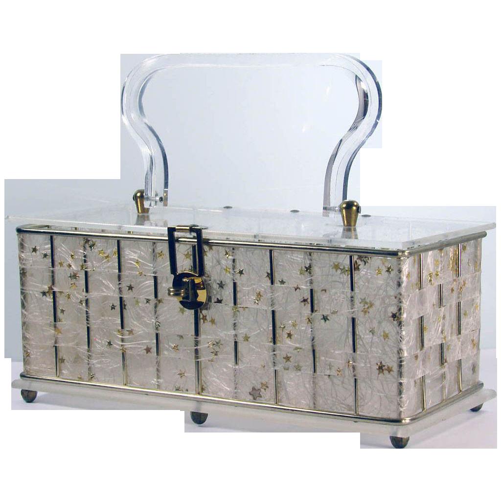 Vintage 1950s Lucite Box Purse // Confetti Stars