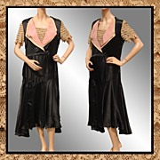 Vintage 1920s Black Silk Dress - Lace Ruffle Sleeves & Bib