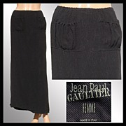 Vintage 1990s Jean Paul Gaultier Skirt // Femme Label Long Black Ladies Small Size 6
