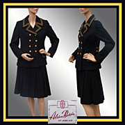 Vintage 1960s Ladies Wool Suit - Nautical Style