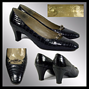 Vintage 1960s Roger Vivier Paris Shoes // Black Alligator Leather Saks 5th Avenue Ladies Size 7 1/2
