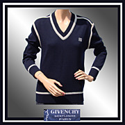 Vintage 1970s Givenchy Gentleman Unisex Sweater // Wool with Logo Men's Size Small Ladies M / L