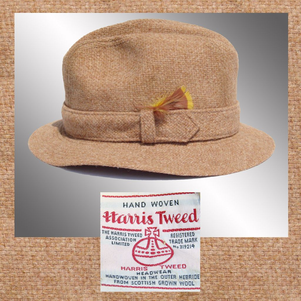 Vintage 1970s Harris Tweed Fedora Hat // Biltmore Stetson Men's Size 7
