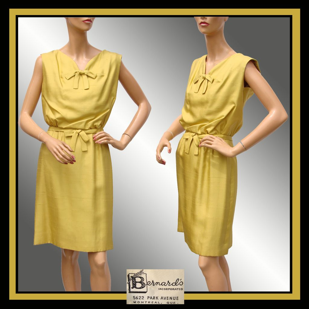 Vintage 1960s Silk Dress Mustard Yellow  Size S / M