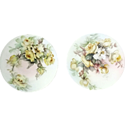 LOVELY Pair of E. MILER signed Yellow CABBAGE ROSE T&V (Tressemann and Vogt) LIMOGES plates