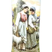 Beautiful BAWO & DOTTER (Imperial Crown China) Porcelain Vase -- INITIALED A.F., Shepherdesses