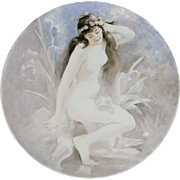 GORGEOUS Large NUDE Portrait JPL (Jean Pouyat) Limoges Charger (ONLY), Hand Painted, Romanticism