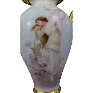 Magnificent ELITE WORKS (Bawo & Dotter) Limoges NUDE Portrait Vase, Hand Painted, SIGNED, Romanticism, RARE Teardrop MOLD