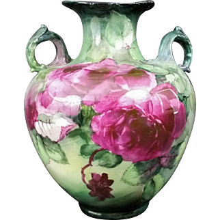 Exquisite BELLEEK Lenox CAC (Ceramic Art Company) VASE -- Magenta CABBAGE Roses, ORNATE Handles, Hand Painted