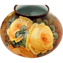 Austria Yellow Rose Round Porcelain Vase