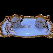 Antique Limoges Austrian Porcelain Creamer and Sugar Tray Set Marked 1893