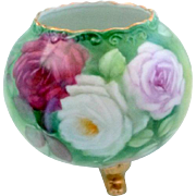 Porcelain Bulbous Round Footed Rose Vase