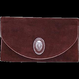 Authentic Vintage Cartier Le Must De Suede Oxblood Clutch