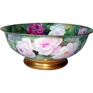 Porcelain T&V Limoges Punch Bowl Gorgeous Pink and Red Rose Pedestal Bowl