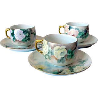 Precious France Limoges Porcelain Rose Cup and Saucers Set of 3