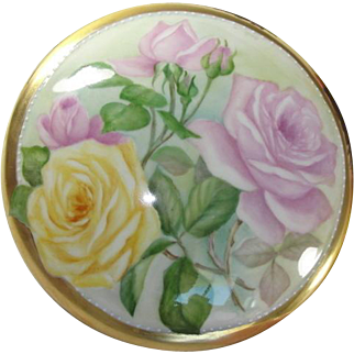 Limoges France Porcelain Vanity Covered Box with Roses