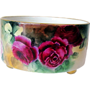 Precious France Limoges Porcelain Rose Footed Center Bowl - Red Tag Sale Item