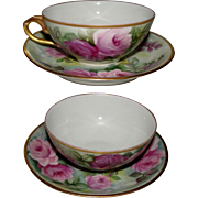 JPL Rich and Fisher Limoges Porcelain Rose Cup and Saucer