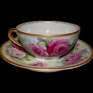 Elite Limoges Porcelain Roses Cup and Saucer