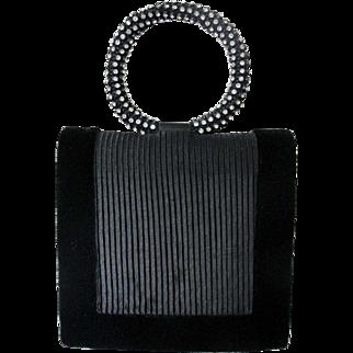 Vintage Sasha Black Velvet Purse Handbag Cross Body with Rhinestones
