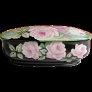 Limoges France Porcelain Rose Decorated Vanity Covered Jar