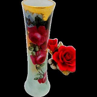 Red Rose Vienna Austria Flute Trumpet Vase Gold Rim Excellent Condition