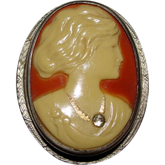 Vintage Cameo Brooch Pin Unmarked