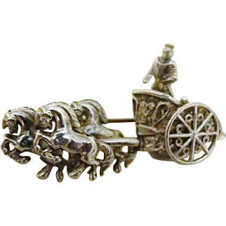 Vintage Chariot with Horses Silver Brooch