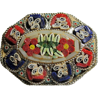 Venetian Micro Mosaic Cut Flower Pin Brooch Marked