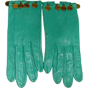 Authentic Vintage Hermes Mint Green Leather Gloves