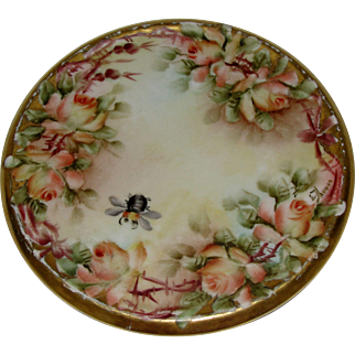 Ester Thomas Miler Bumble Bee Peach Roses Hot Plate Porcelain