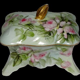 Ester Miler Bavaria Porcelain Trinket Box Square Signed
