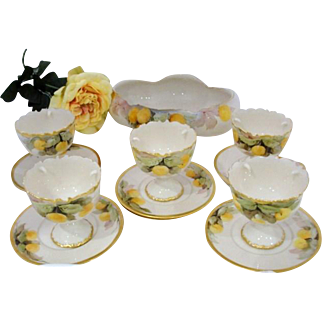 Porcelain Belleek Fruit Cups and Bowl Yellow