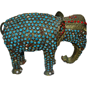 Vintage Brass Elephant Turquoise Coral Figurine Statue