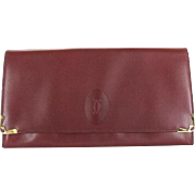 Vintage Authentic Cartier Oxblood Bordeaux Wallet Clutch - Red Tag Sale Item