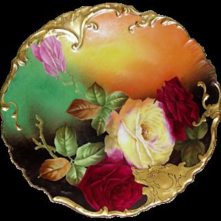 Limoges Porcelain Tressemann and Vogt Plate Artist Signed Rousset